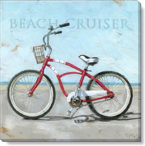 "Canvas Art - Beach Cruiser Bike 14"" x 14"""