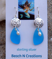 Sea Glass Earring with sand dollar and freshwater pearl 3001