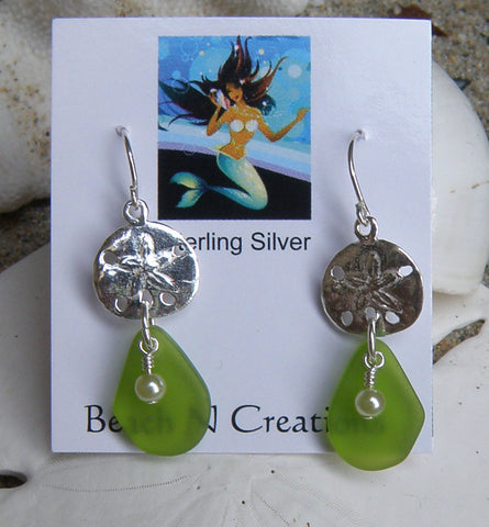 Sea Glass Earring with sand dollar 3002