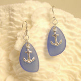Sea Glass Earring with anchor 3013