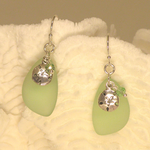 Sea Glass Earring with sand dollar and crystal 3036
