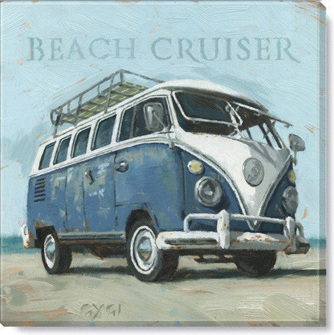 "Canvas Art - Beach Cruiser Bus 9"" x 9"""