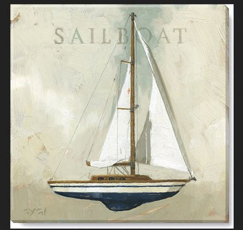 "Canvas Art - Sailboat 9"" x 9"""