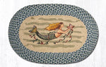 Jute Braided Oval Mermaid Rug with blue border