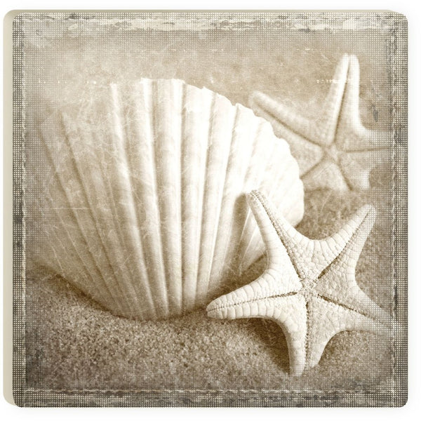 Absorbent Coaster - Muted scallop & stars