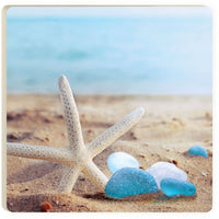 Absorbent Coaster - Sea Glass & Starfish on Beach