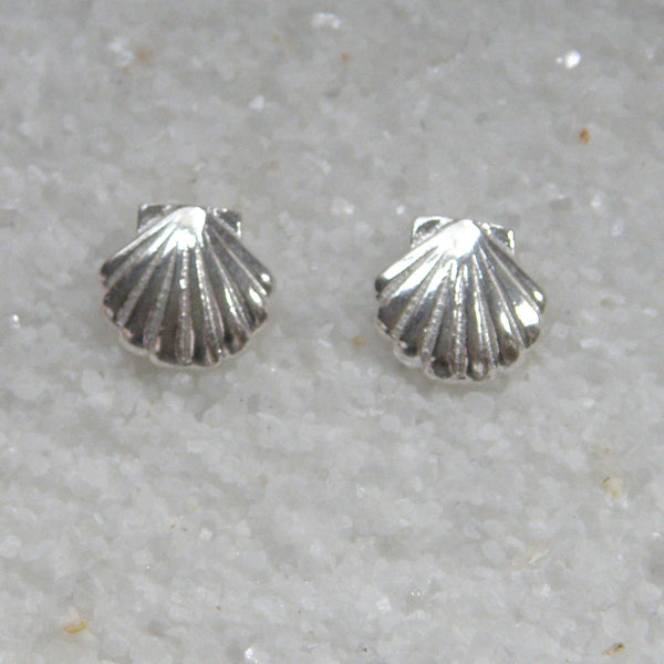 Sterling silver scallop stud (post) earrings