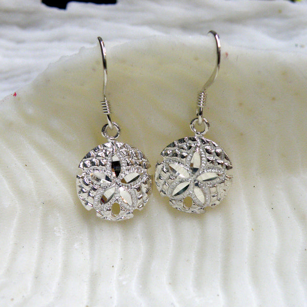 Sterling silver sand dollar earrings (cut-textured)
