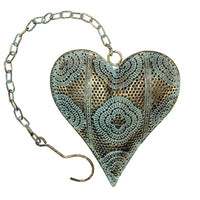 Metal gold heart hanging decor