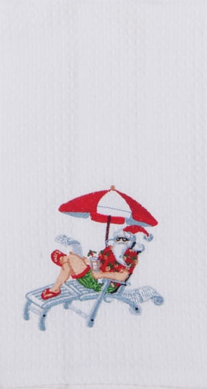 Coastal Christmas Hand Towel - Santa Under Beach Umbrella