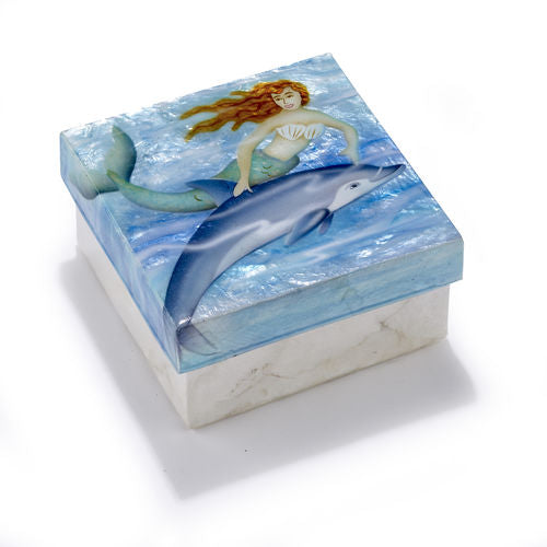Capiz box -Mermaid with Dolphin - medium size