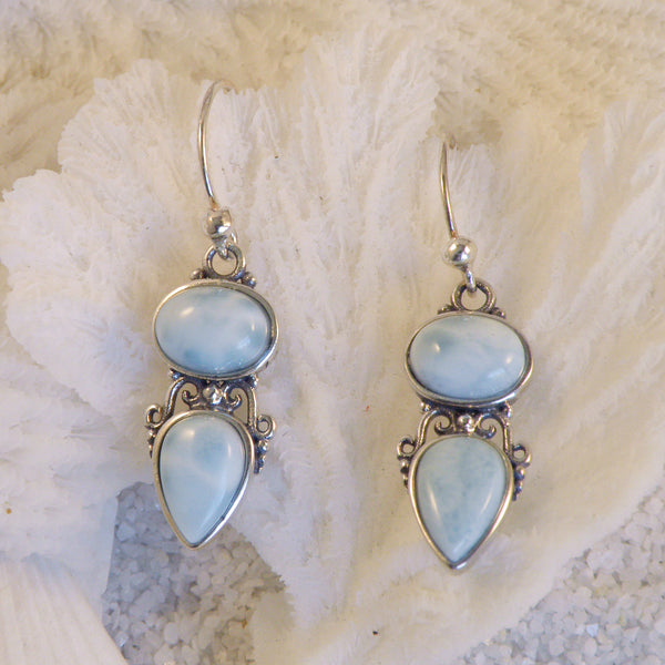 Larimar & Sterling Silver Earrings L1804