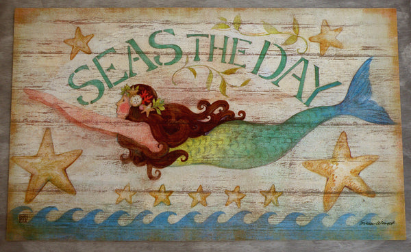 Indoor - Outdoor Floor Mat - Seas the Day Mermaid