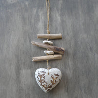 Heart Mobile or Chime - Carved wood and driftwood