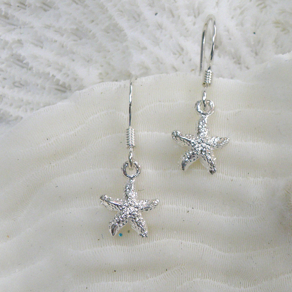 Sterling silver Starfish Small Earrings (textured)