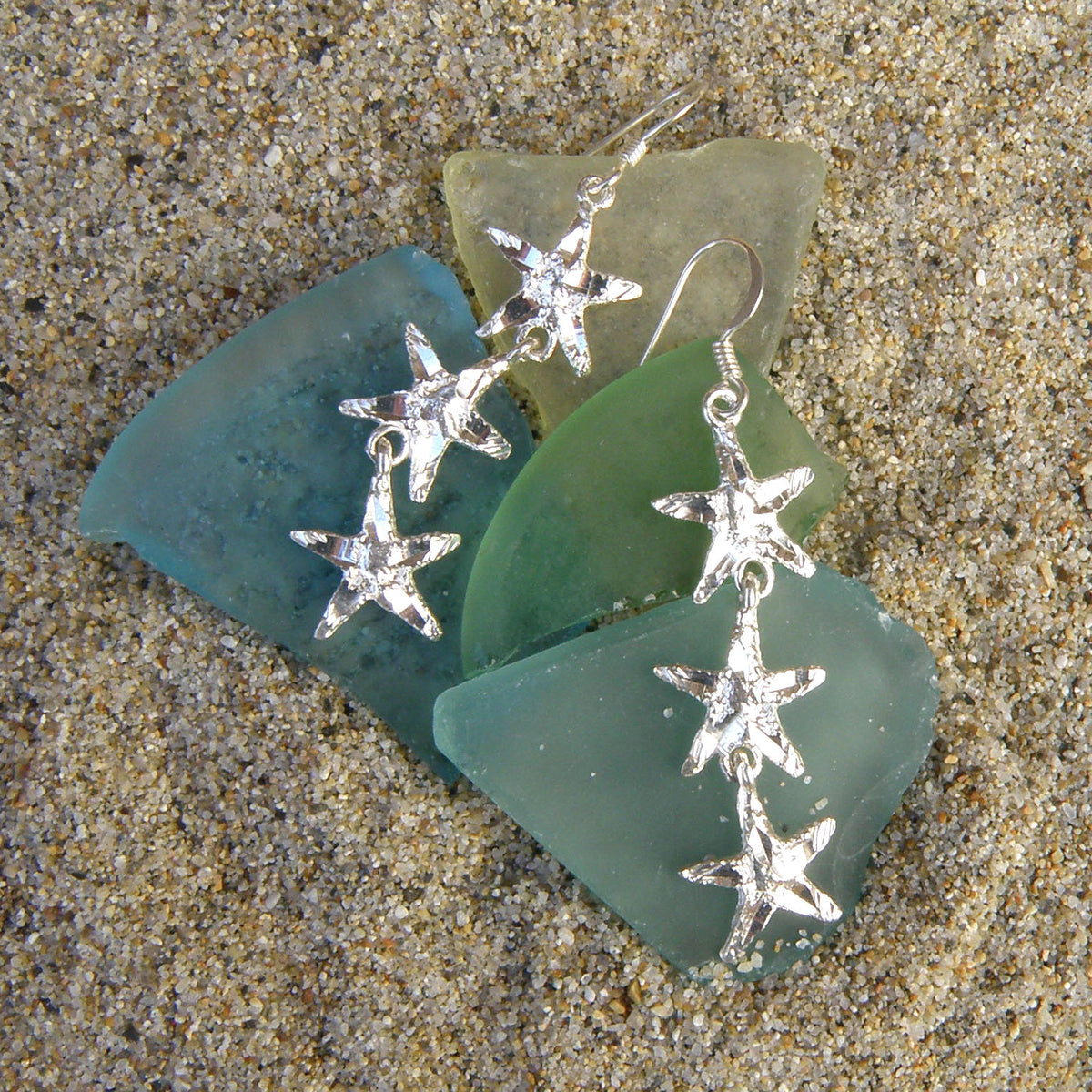 88139573f Sterling silver starfish three dangle earrings – Beach N Creations