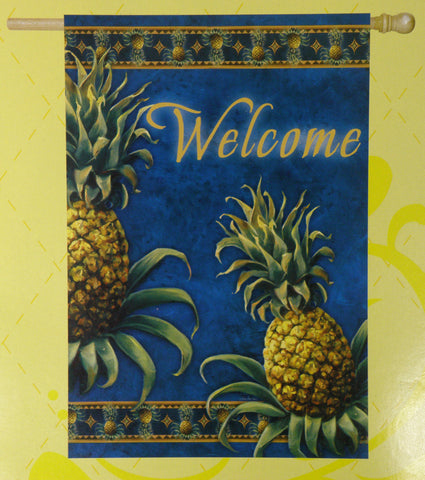 Flag- Regular Flagpole Size - Pineapple Welcome Flag