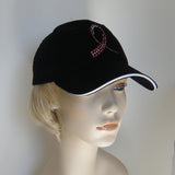 Breast Cancer Awareness Bling Hat Black