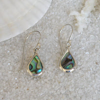 Abalone and Sterling Silver Teardrop Earrings ES70
