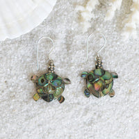 Abalone and Sterling Silver Sea Turtle Earrings ES17