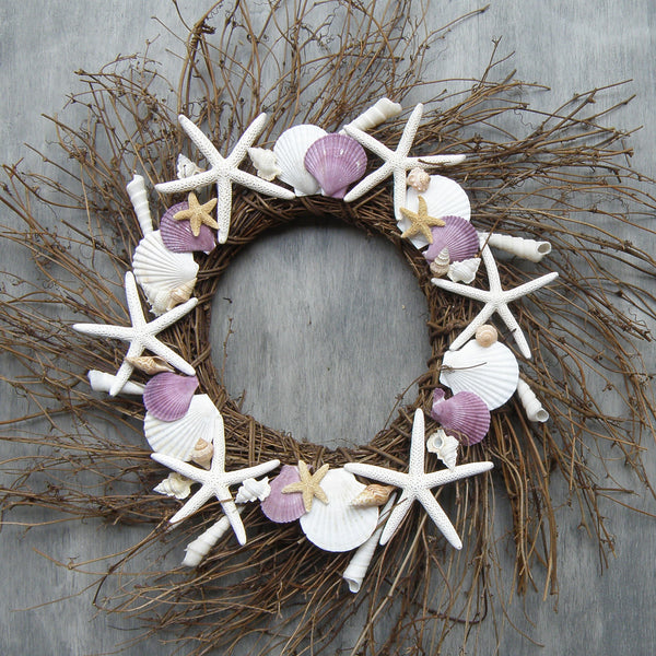 Starfish wreath with lavender shells and sugar starfish, coastal wreath