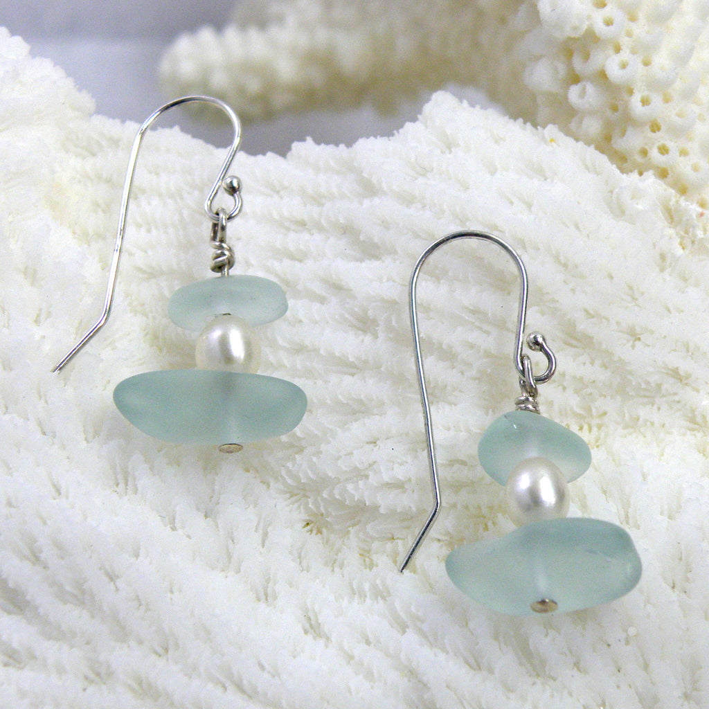 Sterling silver seaglass earrings with freshwater pearl