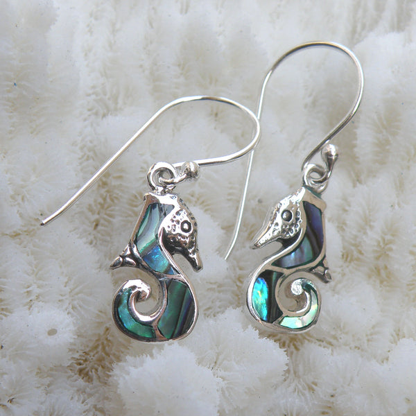 Abalone and Sterling Silver Seahorse Earrings 217