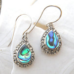 Abalone and Sterling Silver Teardrop Earrings 220