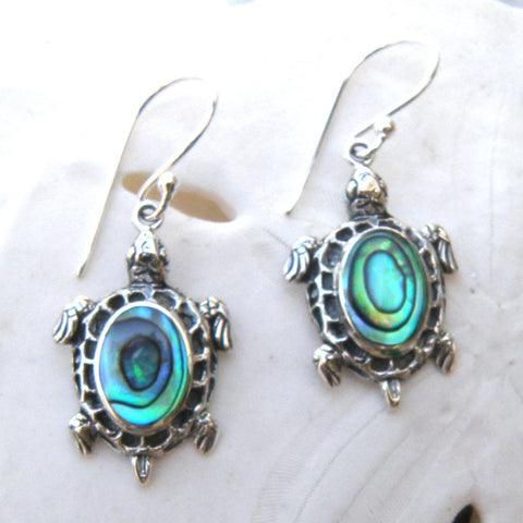 Abalone and Sterling Silver Sea Turtle Earrings 218