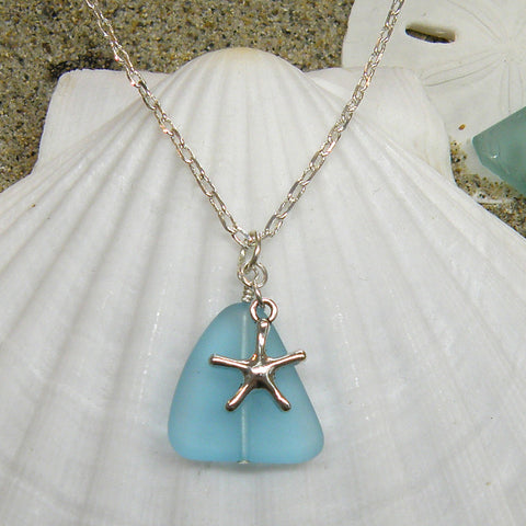 Sea glass and starfish necklace