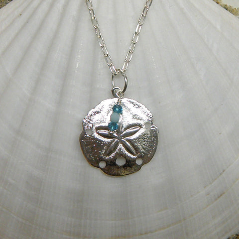 Sand dollar and crystals necklace