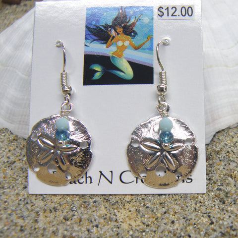Sand dollar and crystals earrings