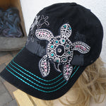Sea Turtle Bling Hat Black
