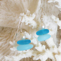 Sterling silver seaglass layered earrings with freshwater pearl 3039
