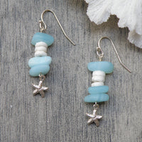 Sea Glass, Puka shell and Sterling Silver Earrings 3038