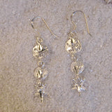 Sterling silver starfish and shell dangle earrings small E7