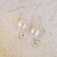 Sterling silver sand dollar and freshwater pearl earrings 3041