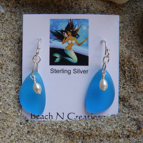 Sea Glass Earring with freshwater pearl 3010