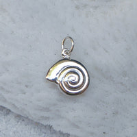 Sterling silver spiral shell charm