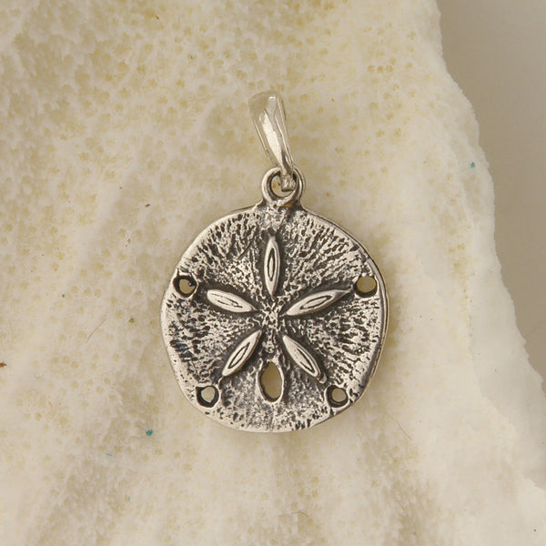 Sterling Silver Oxidized Sand Dollar Pendant Charm
