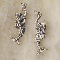 Sterling silver Oxidized Mermaid Pendant (arm extended)