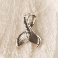 Sterling Silver Oxidized Whale or Mermaid Tail Pendant