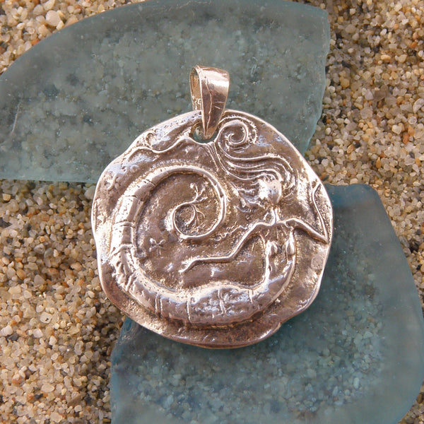 Sterling Silver Oxidized Mermaid Pendant