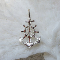 Sterling silver anchor and ship's wheel charm