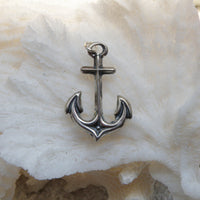 Sterling silver oxidized anchor charm