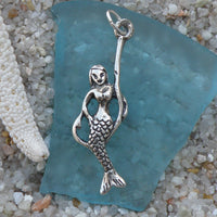 Sterling Silver Mermaid on a Fish Hook Charm