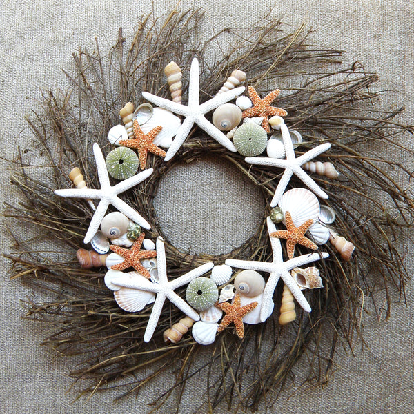 Starfish wreath with urchins, coastal wreath
