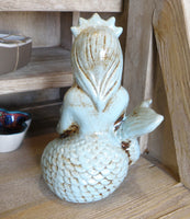 Mermaid planter, toothbrush holder statue in pale aqua