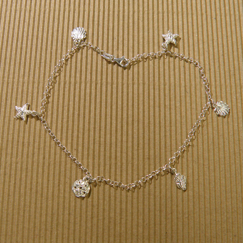 Sterling silver Anklet - Shell sea life combo 10""