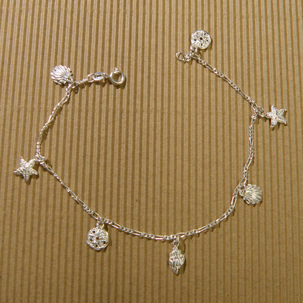 Sterling silver Anklet - Shell sea life combo 9""